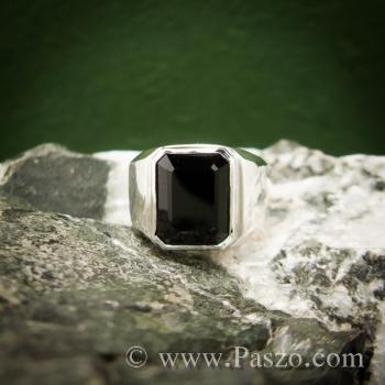 แหวนผู้ชายนิล แหวนผู้ชายเงินแท้ ฝังนิล #2