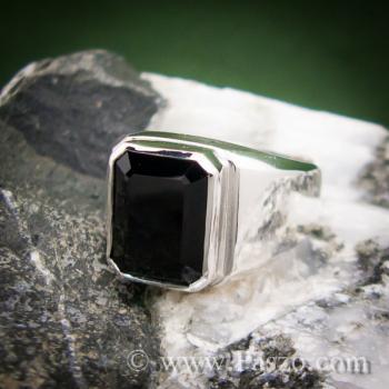 แหวนผู้ชายนิล แหวนผู้ชายเงินแท้ ฝังนิล #4