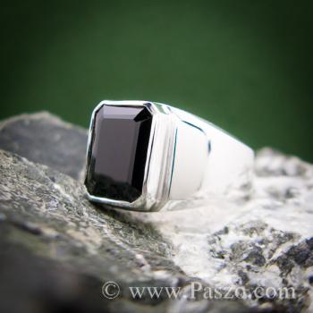 แหวนผู้ชายนิล แหวนผู้ชายเงินแท้ ฝังนิล #7