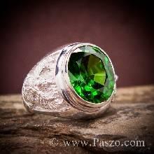 แหวนพญาครุฑ พลอยสีเขียวมรกต แหวนผู้ชาย พญาครุฑ แหวนผู้ชายเงินแท้