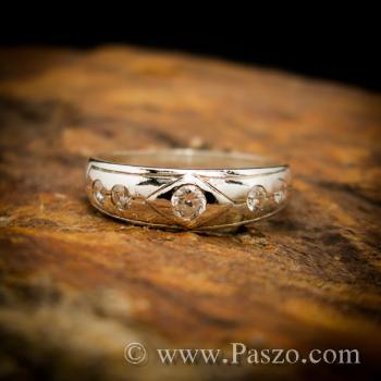 แหวนเพชร 4เม็ด แหวนเงินฝังเพชร #2