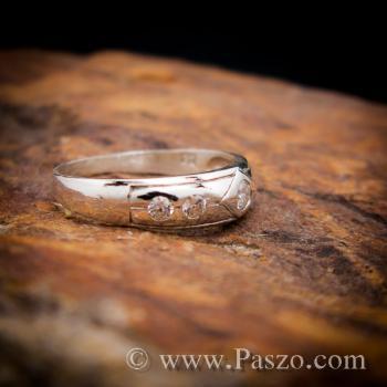 แหวนเพชร 4เม็ด แหวนเงินฝังเพชร #3