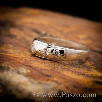 แหวนเพชร 4เม็ด แหวนเงินฝังเพชร #4