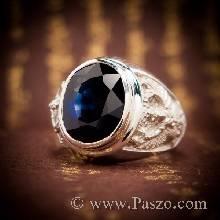 แหวนพญาครุฑ แหวนพลอยไพลิน แหวนผู้ชายเงินแท้ แหวนผู้ชาย พลอยสีน้ำเงิน