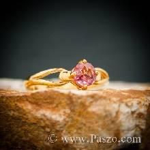 แหวนทองแท้ แหวนพลอยสีชมพู แหวนพลอยเม็ดเดี่ยว พิ้งค์โทพาซ