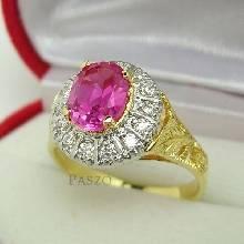 แหวนพลอยชมพู พิงค์โทพาซ ล้อมเพชร แหวนทองแท้ แหวนสไตล์วินเทจ
