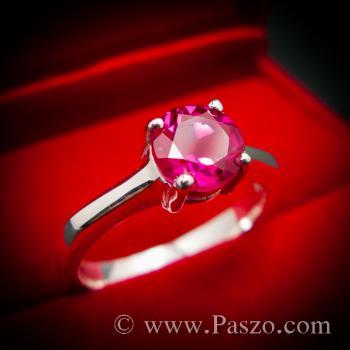 แหวนทับทิม เม็ดเดี่ยว แหวนพลอยสีแดง #4