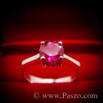 แหวนทับทิม เม็ดเดี่ยว แหวนพลอยสีแดง #7