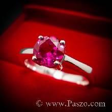 แหวนทับทิม เม็ดเดี่ยว แหวนพลอยสีแดง เม็ดกลม แหวนเงินแท้