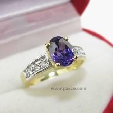 แหวนพลอยสีม่วง แหวนทอง พลอยอะเมทีส บ่าฝังเพชร