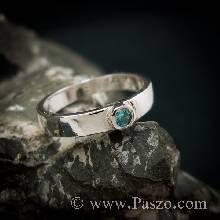 แหวนพลอยสีฟ้า บูลโทพาซ แหวนเงินแท้ พลอยเม็ดเดี่ยว แหวนรุ่นเล็ก