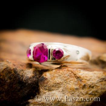แหวนพลอยทับทิมสีแดง พลอยสามเม็ด แหวนเงินแท้ #2