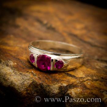 แหวนพลอยทับทิมสีแดง พลอยสามเม็ด แหวนเงินแท้ #3