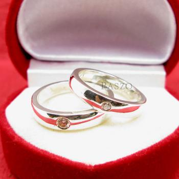 แหวนเงินคู่รัก แหวนเกลี้ยงขอบตรงฝังเพชร เม็ดเดี่ยว #2