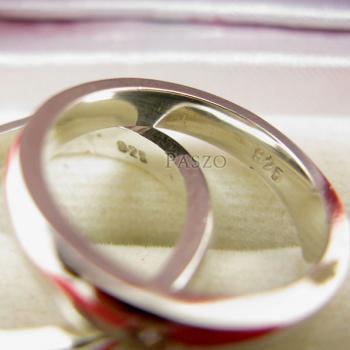 แหวนเงินคู่รัก แหวนเกลี้ยงขอบตรงฝังเพชร เม็ดเดี่ยว #3
