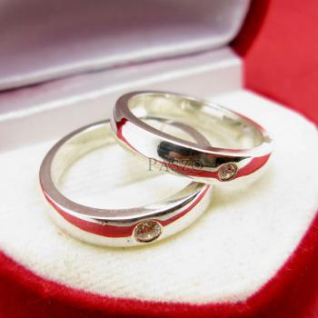 แหวนเงินคู่รัก แหวนเกลี้ยงขอบตรงฝังเพชร เม็ดเดี่ยว #4