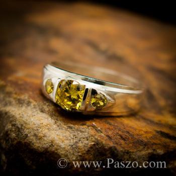 แหวนบุษราคัม แหวนเงินแท้ พลอยสีเหลือง #3