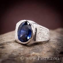 แหวนสลักลายไทย แหวนผู้ชายพลอยไพลิน แหวนเงินแท้ บ่าแกะสลักลายไทย แหวนเงินผู้ชาย แหวนผู้ชาย