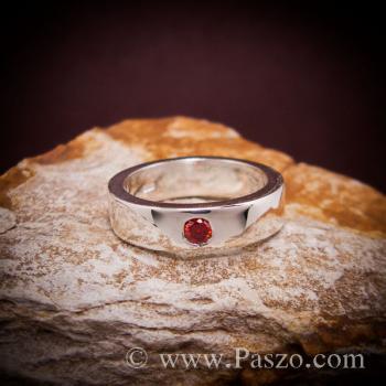 แหวนโกเมน พลอยสีส้ม แหวนเกลี้ยง #2