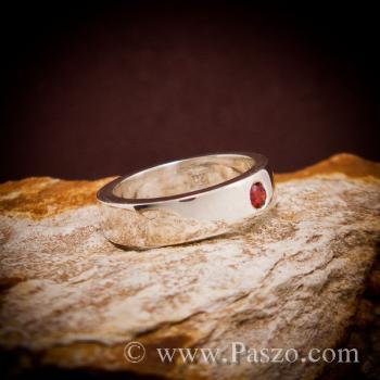 แหวนโกเมน พลอยสีส้ม แหวนเกลี้ยง #3