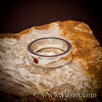 แหวนโกเมน พลอยสีส้ม แหวนเกลี้ยง #4