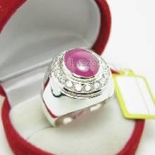 แหวนทับทิม แหวนเงินผู้ชาย แหวนทับทิมแอฟริกาแท้ ล้อมเพชร แหวนผู้ชาย