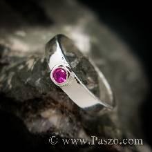 แหวนทับทิมสีชมพู แหวนเงินแท้ ฝังพลอยเม็ดเดี่ยวเม็ดเล็กๆ