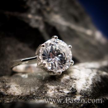 แหวนเพชร แหวนเพชรเม็ดเดี่ยว หนามเตย6จุด #6