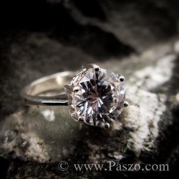แหวนเพชร แหวนเพชรเม็ดเดี่ยว หนามเตย6จุด #7