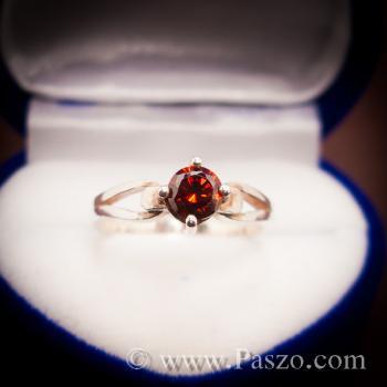 แหวนโกเมน แดงก่ำ แหวนเงิน #2
