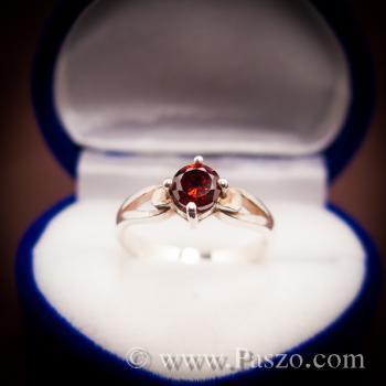 แหวนโกเมน แดงก่ำ แหวนเงิน #3