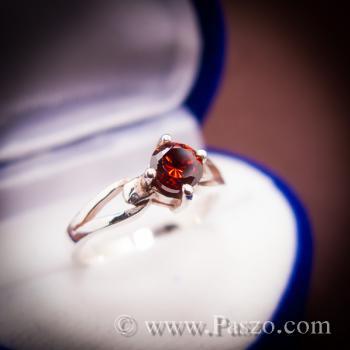 แหวนโกเมน แดงก่ำ แหวนเงิน #4