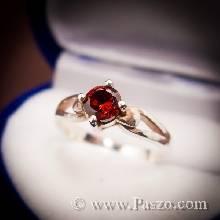 แหวนโกเมน แดงก่ำ แหวนเงิน พลอยเม็ดเดี่ยว