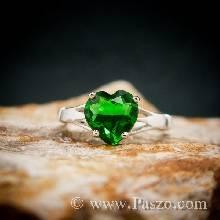 แหวนพลอยรูปหัวใจ แหวนพลอยมรกต แหวนพลอยสีเขียว แหวนเงินแท้