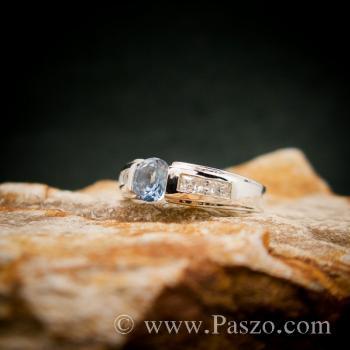 แหวนอะความารีน บ่าฝังเพชร แหวนเงินแท้ #2