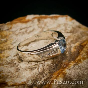 แหวนอะความารีน บ่าฝังเพชร แหวนเงินแท้ #3
