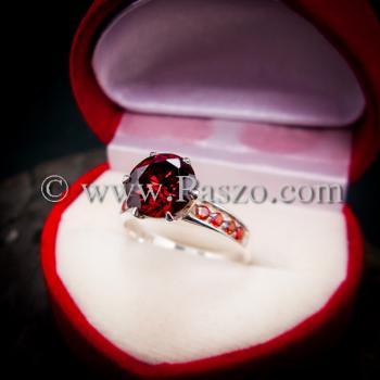 แหวนโกเมน แหวนชูพลอย แหวนเงินแท้ #2