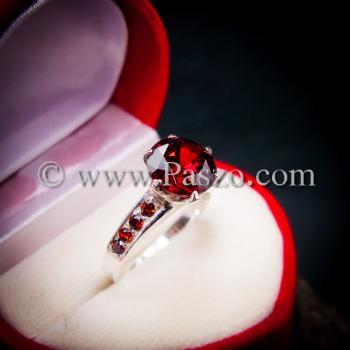 แหวนโกเมน แหวนชูพลอย แหวนเงินแท้ #4
