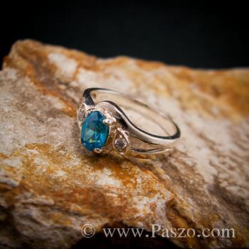 แหวนพลอยสีฟ้า แหวนพลอยเงินแท้  #2