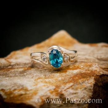แหวนพลอยสีฟ้า แหวนพลอยเงินแท้  #3
