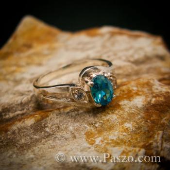 แหวนพลอยสีฟ้า แหวนพลอยเงินแท้  #4