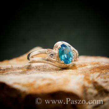 แหวนพลอยสีฟ้า แหวนพลอยเงินแท้  #5