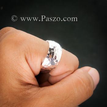 แหวนตอกลายค้อน หน้ากว้าง10มิล แหวนเกลี้ยงหน้าโค้ง #2