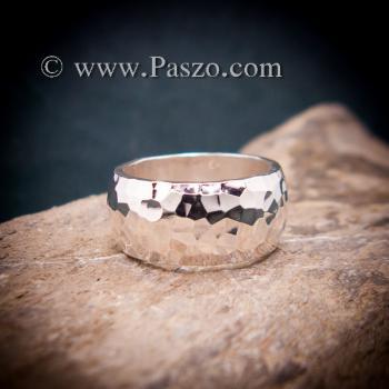 แหวนตอกลายค้อน หน้ากว้าง10มิล แหวนเกลี้ยงหน้าโค้ง #4