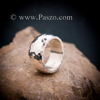 แหวนตอกลายค้อน หน้ากว้าง10มิล แหวนเกลี้ยงหน้าโค้ง #6