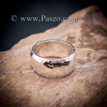 แหวนตอกลายค้อน หน้ากว้าง10มิล แหวนเกลี้ยงหน้าโค้ง #3