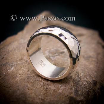 แหวนตอกลายค้อน หน้ากว้าง10มิล แหวนเกลี้ยงหน้าโค้ง #5