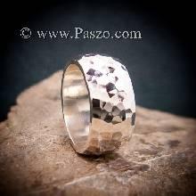 แหวนตอกลายค้อน หน้ากว้าง10มิล แหวนเกลี้ยงหน้าโค้ง แหวนเงินแท้