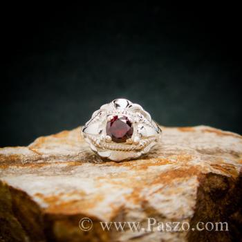 แหวนพลอยโกเมน เงินแท้  #3