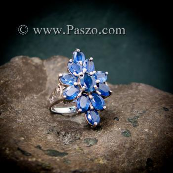 แหวนพลอยไพลิน พลอยสีน้ำเงิน แหวนเงินแท้ #2
